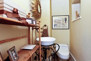 Eclectic Powder Room with Pedestal sink, Powder room