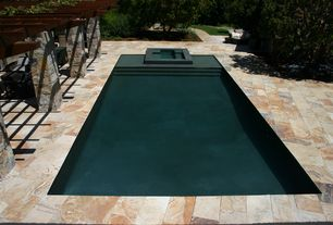 Contemporary Swimming Pool with Pathway, exterior stone floors, Trellis, Lap pool, Pool with hot tub