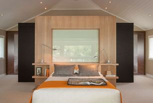 Contemporary Master Bedroom with specialty window, can lights, High ceiling, Carpet