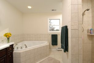 Traditional Master Bathroom with Shower, double-hung window, Corian counters, flush light, Master bathroom, Paint, Bathtub