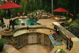 Rustic Patio with MS International Tuscany Walnut 5cm Pool Coping, MS International Sonoran Gold Random Flagstone, Pathway