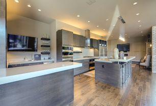 Modern Kitchen with ET2 Lighting Larmes 9 Light LED Pendant, Paint 1, Pental quartz botticino bq8100