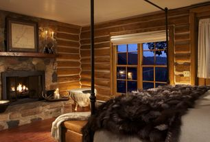 Rustic Master Bedroom with stone fireplace, Home decorators collection faux-fur throw, Custom rustic floating shelf