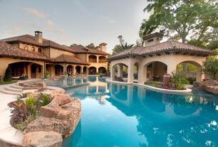 Mediterranean Swimming Pool with Arched window, Pathway, Outdoor kitchen, Fence, Gazebo, exterior stone floors