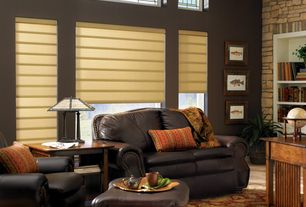 Craftsman Living Room with Built-in bookshelf, High ceiling, Carpet