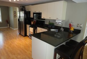 Contemporary Kitchen with Whirlpool WRS576FIDM 25.6 cu. ft. Side by Side Refrigerator, European Cabinets, Simple Granite
