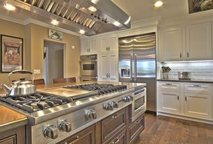 """Traditional Kitchen with can lights, Viking 48"""" 7 Series Gas Rangetop - VGRT, Island Hood, Built In Refrigerator, Paint 1"""