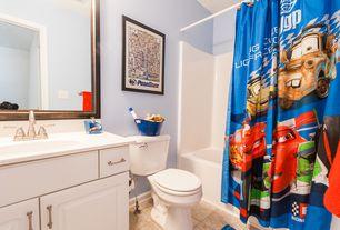 Traditional Kids Bathroom with St. Paul Arkansas 36 in. W x 18.5 in. D x 32.125 in. H Vanity Cabinet, limestone tile floors