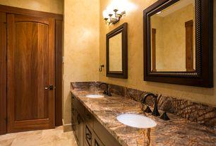Rustic Master Bathroom with three quarter bath, Granite countertop, wall-mounted above mirror bathroom light, Double sink