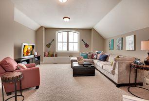 Modern Living Room with flush light, Window seat, Carpet