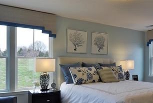 Traditional Master Bedroom with Beach House Gallery Blue Coral Wall Art