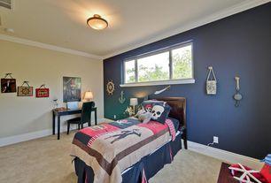 Eclectic Kids Bedroom with no bedroom feature, Carpet, flush light, Standard height, Crown molding, Casement