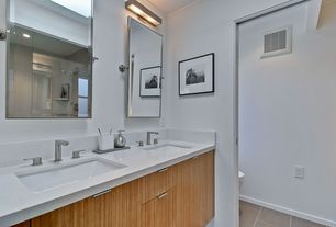 Modern Master Bathroom with Simple granite counters, frameless showerdoor, Pottery Barn Kensington Rectangular Mirror, Flush
