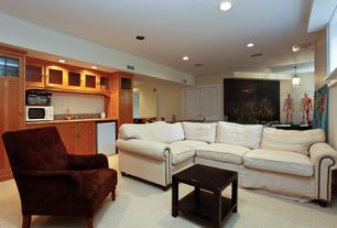 Modern Basement with specialty window, Carpet, French doors, flush light, Glass panel door, can lights, Pendant light