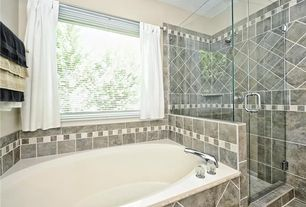 Traditional Full Bathroom with Standard height, frameless showerdoor, Paint, Tab curtains with mini blinds, slate tile floors