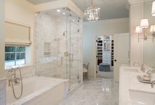 Traditional Master Bathroom with Flush, Handheld showerhead, Master bathroom, Pendant light, Simple marble counters