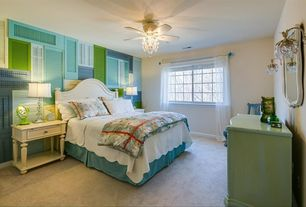 Eclectic Master Bedroom with Coastal Living by Stanley Furniture Bungalow Panel Bed, Ceiling fan, Carpet, Wall sconce