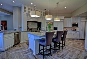 Traditional Kitchen with herringbone tile floors, L-shaped, Breakfast bar, full backsplash, Standard height, Inset cabinets