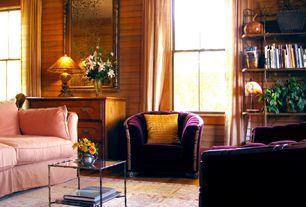 Eclectic Living Room with Hardwood floors, Standard height, double-hung window