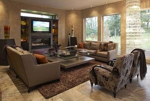 Modern Living Room with insert fireplace, simple marble floors, Statements Alabastrino Rustic Vein Cut Travertine Tile