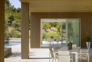 Contemporary Patio with Pathway, Fence, sliding glass door