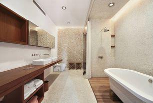 Modern Master Bathroom with Double sink, MS International 5/8 x 5/8 Tumbled Durango Cream Travertine Mosaic Tile, Vessel sink