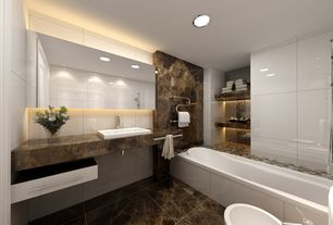 Contemporary Master Bathroom with Master bathroom, Rectangle Ceramic Semi Recessed Vessel Bathroom Sink with Overflow, Flush