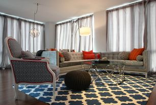 Contemporary Living Room with Nuloom hand-hooked alexa moroccan trellis wool rug, Hardwood floors, Hollywood curved sectional