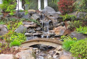 Asian Landscape/Yard with exterior stone floors, Fountain, Pathway