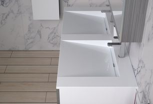 Contemporary Master Bathroom with Tez Marble Statuario Marble Tile