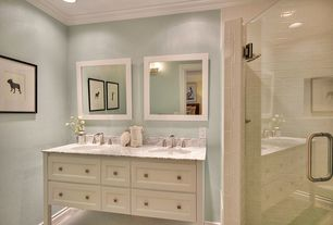 Traditional Master Bathroom with Wall sconce, Concrete floors, Strasser Woodenworks Simplicity Rounded Edge Framed Mirror
