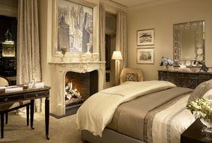 Traditional Master Bedroom with Built-in bookshelf, Hooker furniture east ridge writing desk, Honeycomb lattice framed mirror