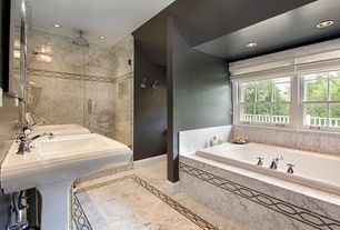 Contemporary Master Bathroom with complex marble tile floors, flush light, Rain shower, Pedestal sink, High ceiling
