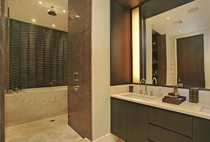 Modern Master Bathroom with Merola Tile Tessera Subway Earth 3 in. x 6 in. x 8 mm Glass Wall Tile, European Cabinets, Flush