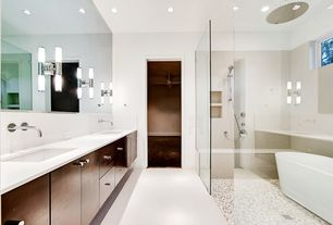 Modern Master Bathroom with can lights, Paint, Choose Frameless Pivot Hinge Shower Door Configurations, Standard height