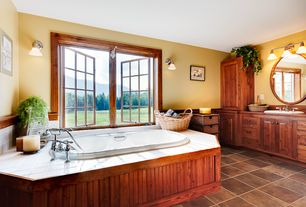 Country Master Bathroom with Casement, Wood counters, stone tile floors, Wall Tiles, partial backsplash, drop in bathtub