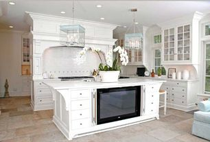 Traditional Kitchen with Inset cabinets, Emser, travertine floor and wall tile, stone tile floors, Breakfast bar, can lights