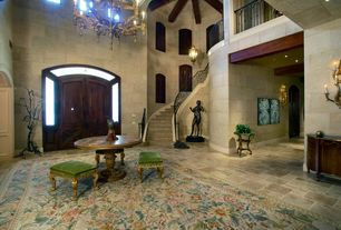 Mediterranean Entryway with Transom window, Concrete tile , Exposed beam, High ceiling, French doors, Chandelier