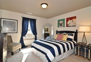 Modern Guest Bedroom with Carpet, Standard height, double-hung window, flush light