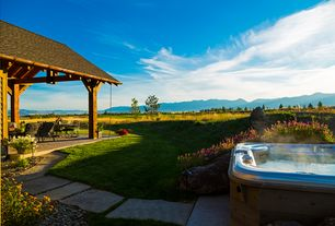 Country Hot Tub with exterior stone floors, Pathway