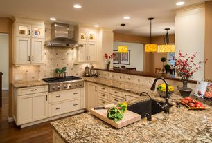 Traditional Kitchen with Undermount sink, Stone Tile, Limestone Tile, Breakfast nook, Flat panel cabinets, Flush, U-shaped