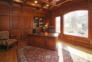 Craftsman Home Office with Built-in bookshelf, Arched window, Box ceiling, Hardwood floors
