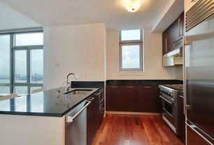Modern Kitchen with Silestone Quartz In Tao, Flush, Breakfast bar, KraftMaid Cabinetry Cherry Slab In Peppercorn, U-shaped