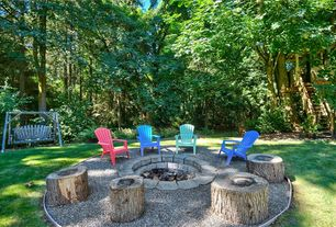 Rustic Patio with Pathway, exterior stone floors, Amish Poly Wood Back Adirondack Chair, Fire pit