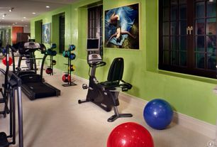 Traditional Home Gym with can lights, flush light, Carpet, Casement, Standard height