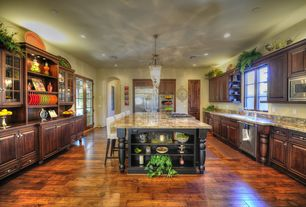 Traditional Kitchen with Armstrong Flooring - Hickory in Artesian Mull Spice, Undermount sink, U-shaped, Casement, can lights
