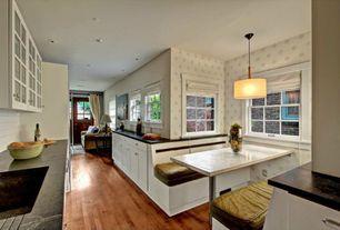 Traditional Kitchen with Flush, Undermount sink, interior wallpaper, U-shaped, Pendant light, Flat panel cabinets