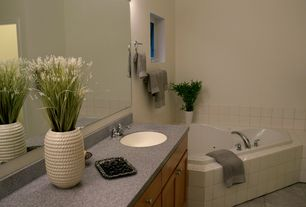 Contemporary Master Bathroom with Simple Granite, Undermount sink, Simple granite counters, drop in bathtub, Standard height