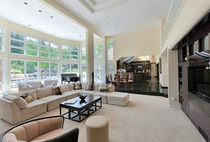 Contemporary Living Room with Columns, Built-in bookshelf, High ceiling, Carpet