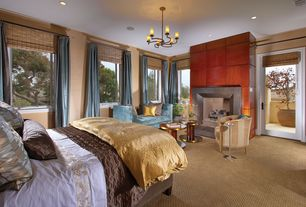 Modern Master Bedroom with Carpet, Lewis hyman- kona roman shade, Fireplace, French doors, stone fireplace, Chandelier